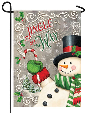 Jingle All the Way Snowman Garden Flag