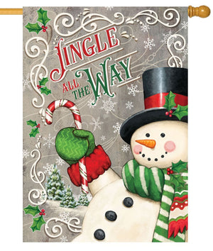 Jingle All the Way Snowman House Flag