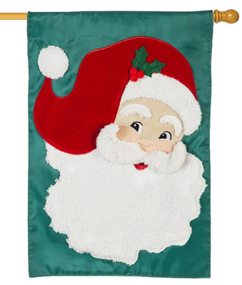 Jolly Old Saint Nick Applique House Flag
