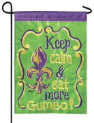 Keep Calm Eat Gumbo Double Applique Garden Flag