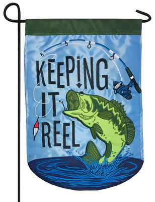 Keeping it Reel Bass Double Applique Garden Flag