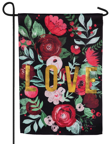 LOVE Floral Embellished Suede Garden Flag - All Decorative Flags/Holidays/Valentine's Day Flags - I AmEricas Flags