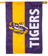LSU Tiger Eye Embellished Applique House Flag
