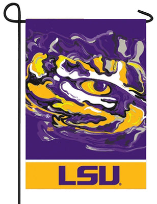 LSU Whimsical Mascot Suede Reflections Garden Flag