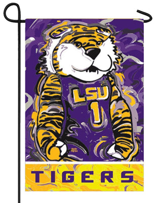 LSU Whimsical Tiger Mascot Suede Reflections Garden Flag