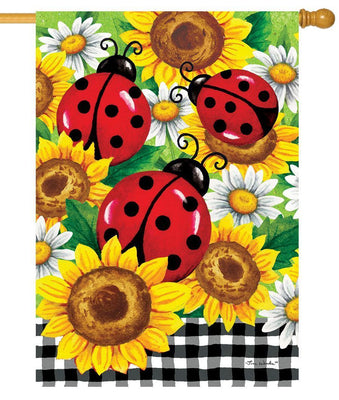 Ladybugs and Sunflowers House Flag