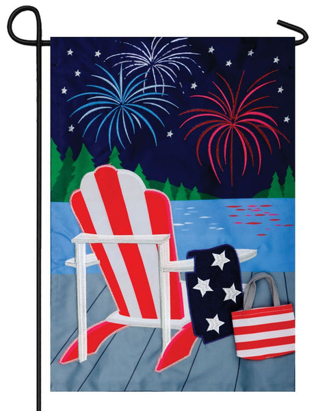 Lake Fireworks Double Applique Garden Flag - I AmEricas Flags