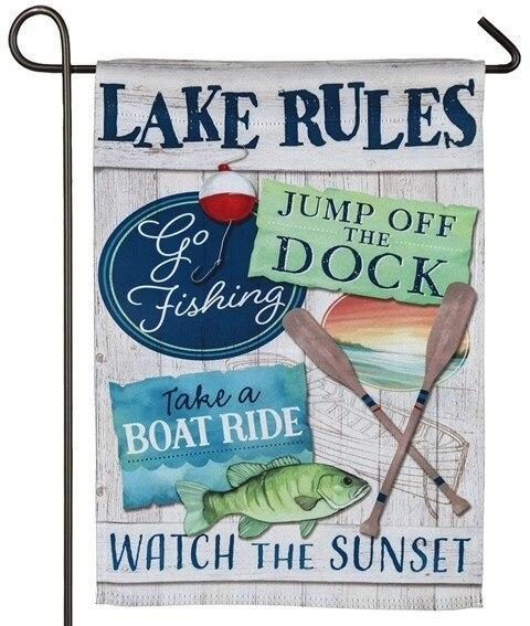 Lake Rules Suede Reflections Garden Flag