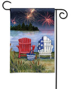 Lake View Fireworks Garden Flag