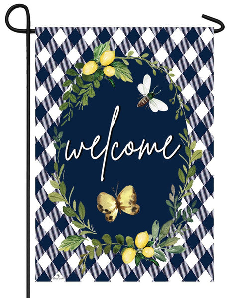 Lemon Wreath Welcome Garden Flag