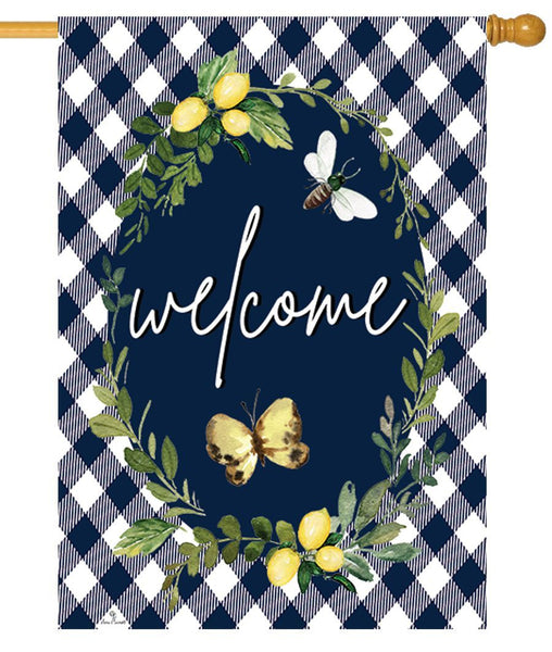 Lemon Wreath Welcome House Flag