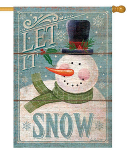 Let it Snow Rustic Snowman House Flag