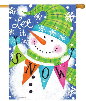Let it Snow Snowman Pennants House Flag