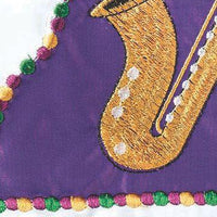 Let the Good Times Roll Double Applique Garden Flag Detail 1