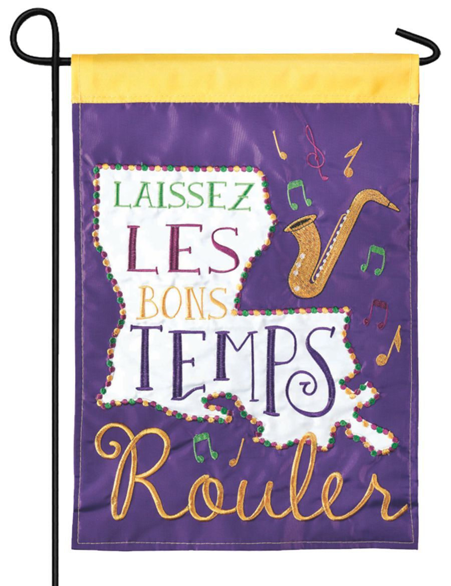 Let the Good Times Roll Double Applique Garden Flag