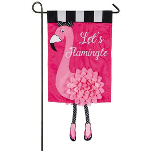 Let's Flamingle Sculpted Applique Garden Flag