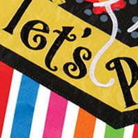 Let's Party Double Applique Garden Flag Detail 1