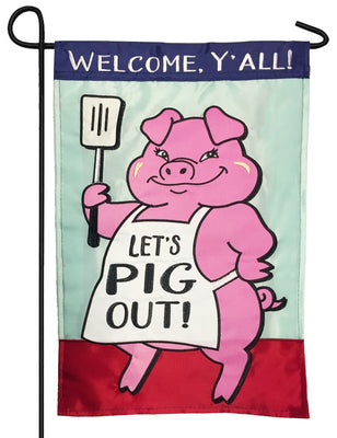 Let's Pig Out Double Applique Garden Flag