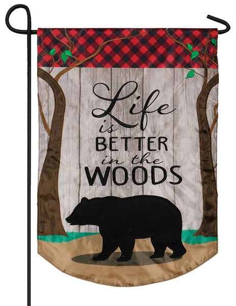 Life in the Woods Double Applique Garden Flag