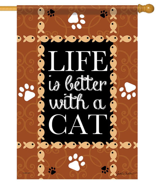 Life is Better with a Cat House Flag - All Decorative Flags/Themes/Animal Flags/Dog and Cat Flags - I AmEricas Flags