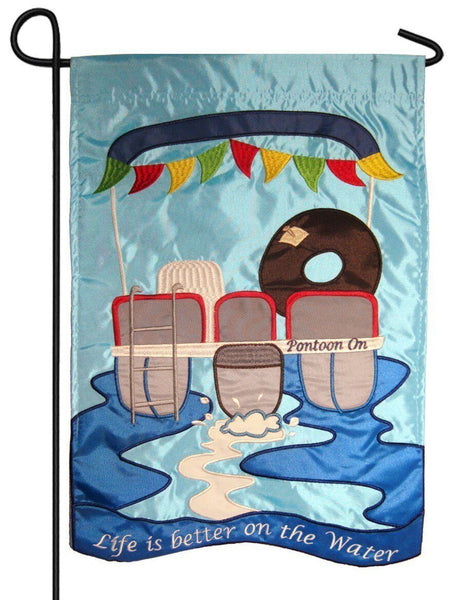 Life is Better on the Water Double Applique Garden Flag