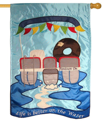 Life is Better on the Water Double Applique House Flag