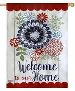 Linen Americana Floral Decorative House Flag