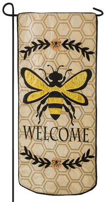 Linen Bee Welcome Applique Garden Banner