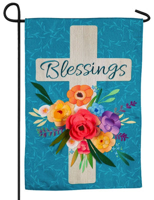 Linen Blessings Floral Cross Decorative Garden Flag