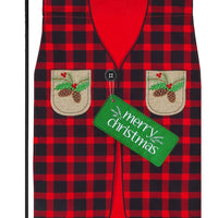 Linen Buffalo Plaid Christmas Vest Decorative Garden Flag