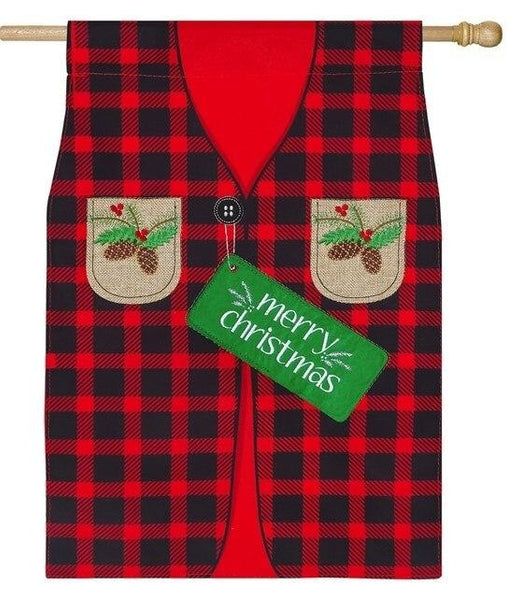 Linen Buffalo Plaid Christmas Vest Decorative House Flag - All Decorative Flags/Holidays/Christmas Flags - I AmEricas Flags