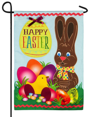 Linen Chocolate Easter Bunny Decorative Garden Flag
