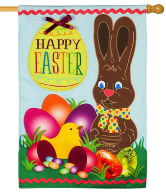 Linen Chocolate Easter Bunny Decorative House Flag