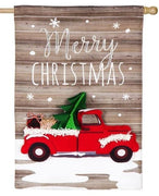 Linen Christmas Red Pickup Truck Decorative House Flag