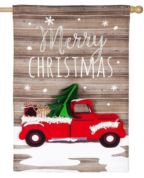Linen Christmas Red Pickup Truck Decorative House Flag - All Decorative Flags/Holidays/Christmas Flags - I AmEricas Flags