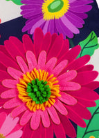 Linen Daisy Stripes Applique Garden Banner Detail 1