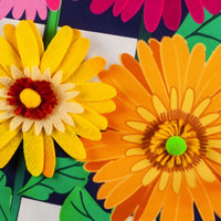 Linen Daisy Stripes Applique Garden Banner Detail 2