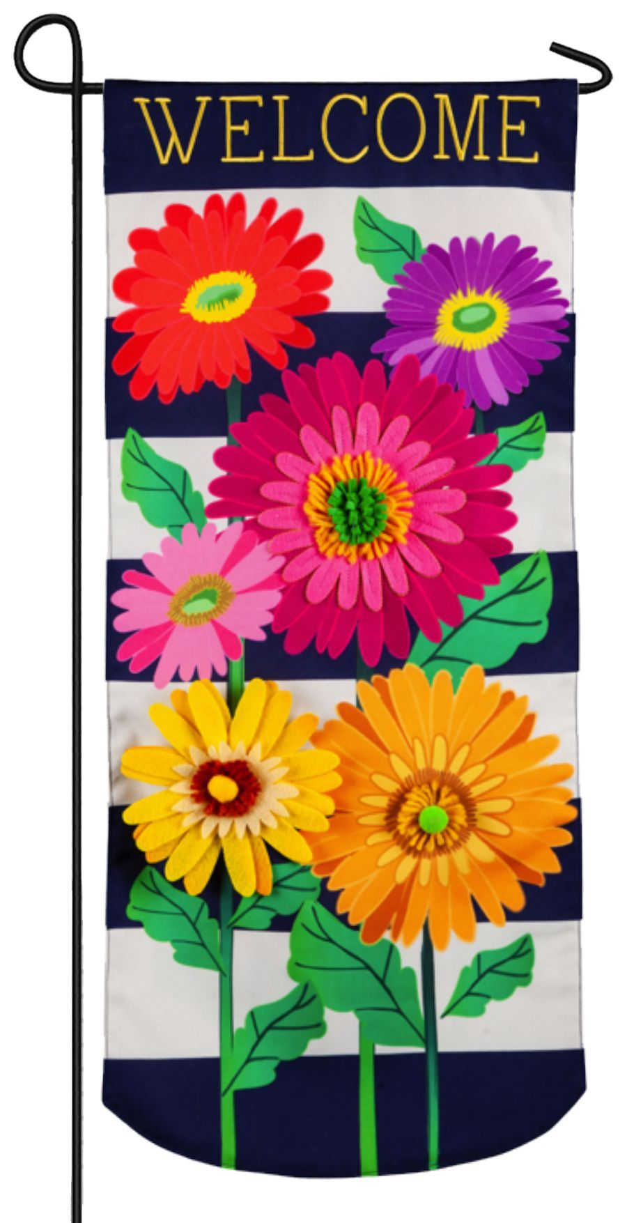 Linen Daisy Stripes Applique Garden Banner