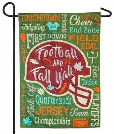 Linen Fall Football Word Collage Decorative Garden Flag