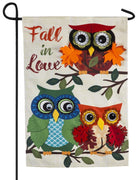 Linen Fall in Love Owls Decorative Garden Flag