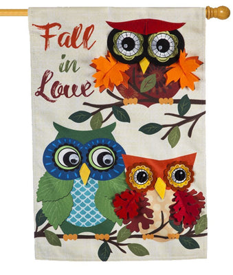 Linen Fall in Love Owls Decorative House Flag