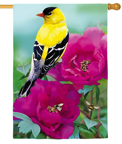 Linen Finch Floral Decorative House Flag - I AmEricas Flags