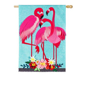 Linen Flamingo Trio Decorative House Flag