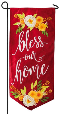 Linen Floral Bless Our Home Applique Garden Banner