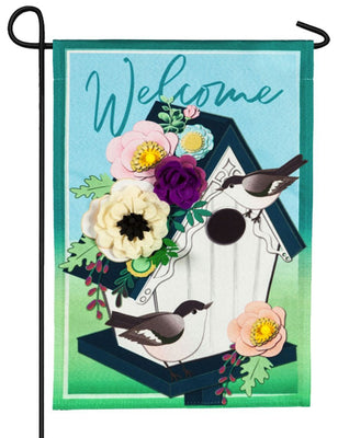 Linen Floral Chickadee Birdhouse Welcome Decorative Garden Flag