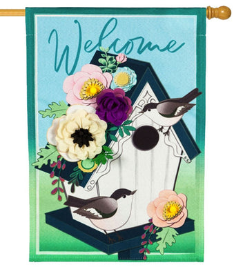 Linen Floral Chickadee Birdhouse Welcome Decorative House Flag