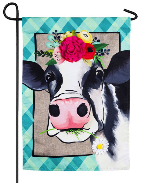 Linen Floral Crowned Cow Decorative Garden Flag - I AmEricas Flags