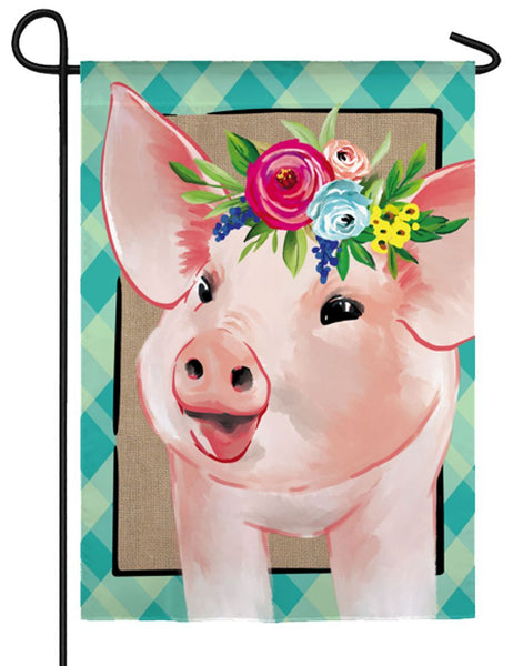 Linen Floral Crowned Pig Decorative Garden Flag - I AmEricas Flags