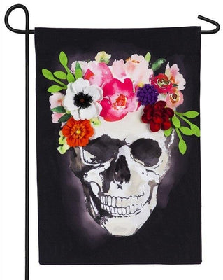 Linen Floral Crowned Skull Decorative Garden Flag