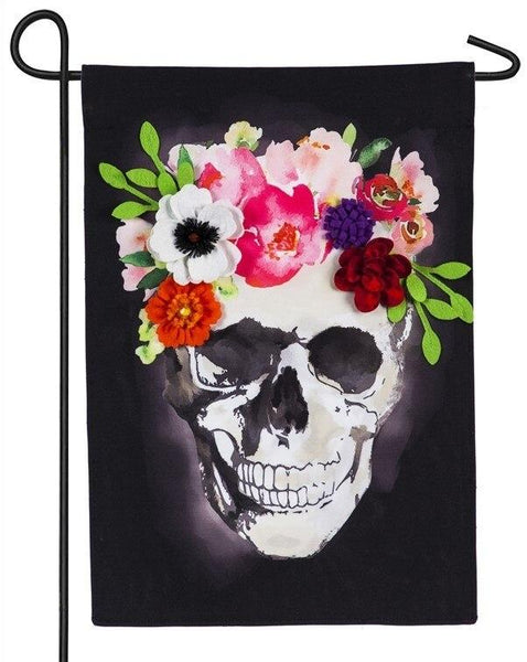 Linen Floral Crowned Skull Decorative Garden Flag - All Decorative Flags/Holidays/Halloween Flags - I AmEricas Flags
